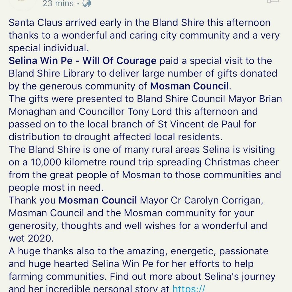 Selina Win Pe - Bland Shire Media Release Dec 2019